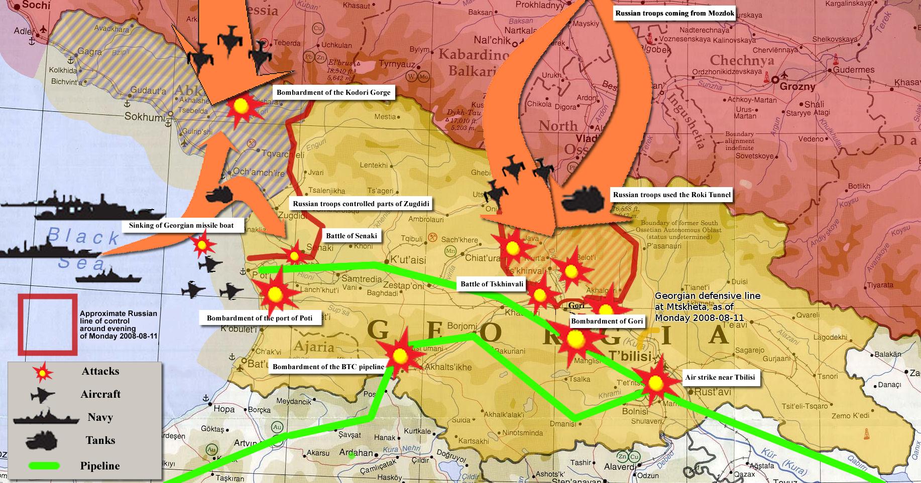Карта, представяща размера на руската агресия. Бомбардирани са обекти в почти всички части на Грузия.